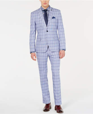Nick Graham Men Slim-Fit Windowpane Suit