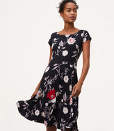 LOFT Botanical Boatneck Flare Dress