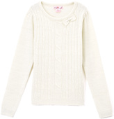 Pink Angel Off-White Metallic Cable-Knit Bow Sweater - Infant & Girls