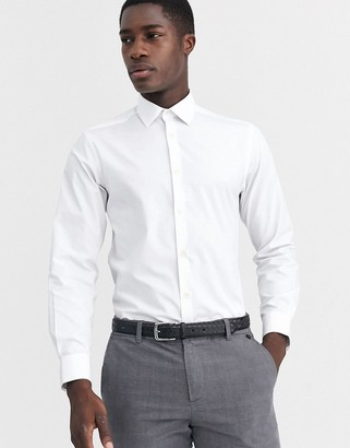 French Connection slim fit poplin shirt-White