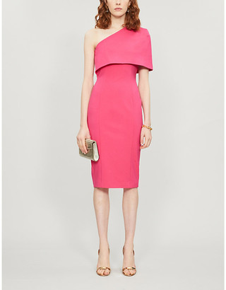 Lavish Alice One-shoulder capped-sleeve woven midi dress