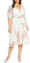 Maison Tara Smocked Floral Clip Dot Chiffon Dress
