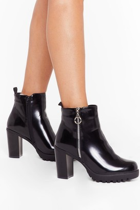 Nasty Gal Womens Let'S Zip Town Patent Ankle Boots - Black - 3