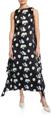 BERNADETTE Grace Knotted-Silk Open Back Dress