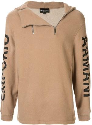 Emporio Armani Logo Sleeve Zipped Hoodie