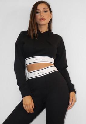 Missguided Black Waistband Crop Loungewear Hoodie