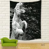 Vipsung House Decor Tapestry_Safari Decor Picture Of A White Tiger Standing In Water Beast Exotic Roaring Cruel Unique_Wall Hanging For Bedroom Living Room Dorm