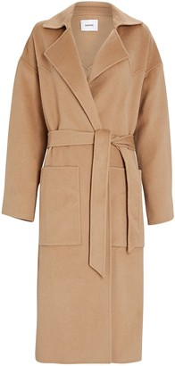 Nanushka Alamo Silk-Wool Wrap Coat