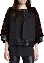 L'Agence Rabbit Fur-Sleeve Opera Coat