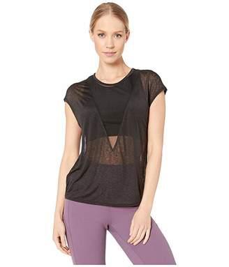 Alo Descent Short Sleeve Top (Black) Women's Short Sleeve Pullover