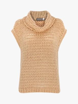 Mint Velvet Roll Neck Knitted Vest, Camel