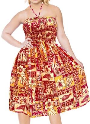LA LEELA Swimsuit Beach wear Swimwear Cover up Maxi Halter Neck Short Tube Dress Blood Red