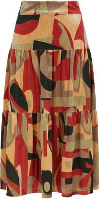 Traffic People Cord Tiered Midi Skirt In Rust Print