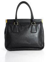 Prada Black Leather Gold Tone Accent Saffiano Satchel Handbag New