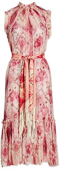 Zimmermann Wavelength Frill Silk Dress