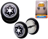 Star Wars Official Screw Back Earrings with Galactic Empire Symbol Graphic Front
