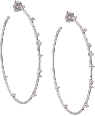 Mattia Cielo 18kt White Gold Diamond Hoop Earrings