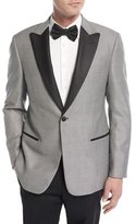 Armani Collezioni Textured Peak-Lapel Dinner Jacket, Black/White