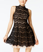 Trixxi Juniors' Lace Tulle Fit & Flare Dress