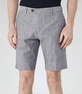 Reiss Reiss Galoway - Linen And Cotton Shorts In Blue