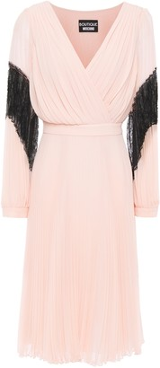 Boutique Moschino Lace-paneled Pleated Georgette Dress