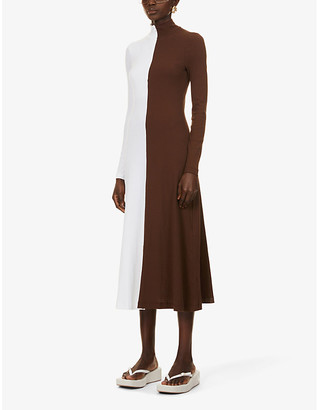 Rosetta Getty Colour-block turtleneck cotton-jersey midi dress