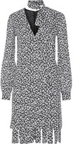 Michael Kors Fringed Floral-print Silk-crepe Dress - Gray