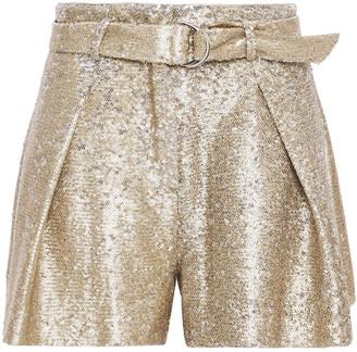 Jonathan Simkhai Belted Sequined Satin Shorts