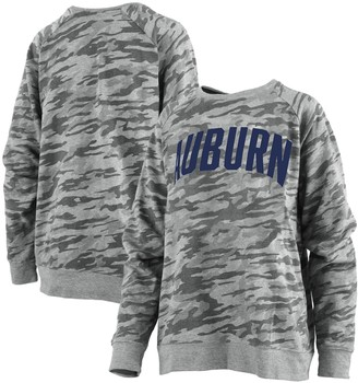 Unbranded Women's Pressbox Camo Auburn Tigers Gulfport French Terry Raglan Pullover Sweatshirt