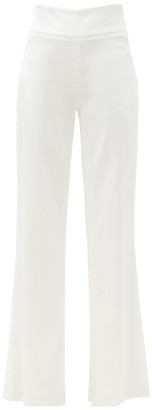 Galvan High-rise Crepe Flared-leg Trousers - White