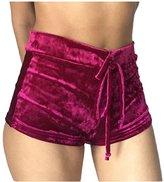 Pink Wind PinkWind Women Bodycon Stretch Tie Waist Velvet Flannel Butt Lift Running Shorts L