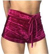 Pink Wind PinkWind Women Bodycon Stretch Tie Waist Velvet Flannel Butt Lift Running Shorts M