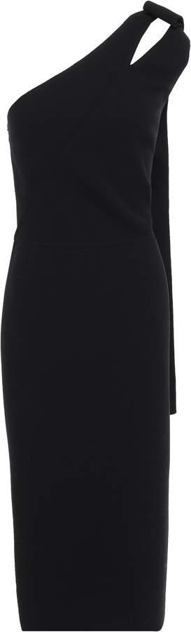 Oscar de la Renta One-shoulder Cutout Wool-blend Crepe Midi Dress