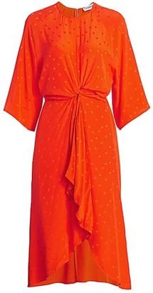 Essentiel Antwerp Vayen Dot Knot Silk Midi Dress