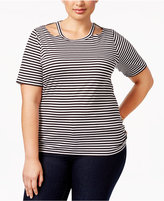 MICHAEL Michael Kors Size Striped Cutout T-Shirt