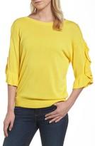 Halogen Petite Women's Ruffle Sleeve V-Back Sweater