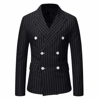 QJSZ Mens Casual Blazer Slim Fit Long Sleeve Suit Jacket Double Breasted Vertical Stripes Casual Suits Blazer Jackets Outdoor Comfortable Business Work Wedding Party Blazer XL