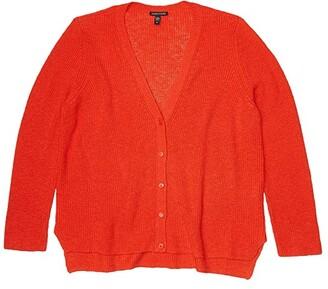 Eileen Fisher V-Neck Cardigan (Geranium) Women's Clothing