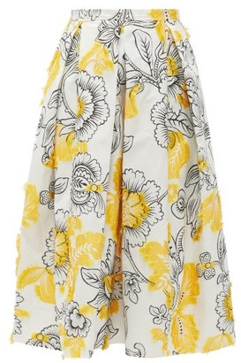 Erdem Ina Floral Fil-coupe Cotton-blend Skirt - Womens - Yellow White