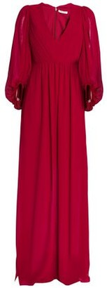 Halston Gathered Pleated Crepe De Chine Gown