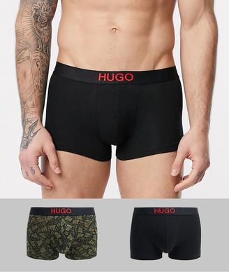 HUGO BOSS bodywear 2 pack printed trunks in black