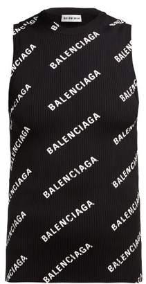 Balenciaga Logo-print Ribbed-knit Sleeveless Top - Womens - Black White