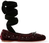 Miu Miu Lace-up Studded Velvet Ballet Flats - Claret