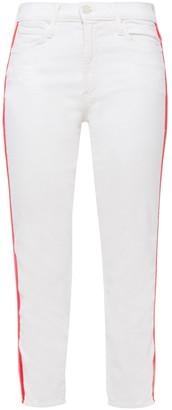 Mother Dazzler Striped High-rise Slim-leg Jeans