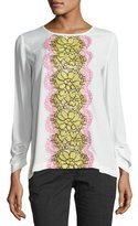 Moschino Fantasy Long-Sleeve Lace-Trim Blouse, White