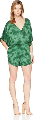 Green Dragon Women's Kimono Sleeve Romper with V-Neckline & Elastic Waistband