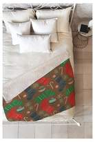 "Deny Designs Red Novelty Pimlada Phuapradit Christmas Ornaments Sherpa Throw Blanket (50""X60"