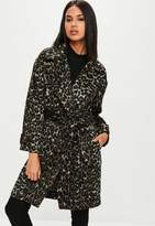 Missguided Brown Leopard Belted Coat, Brown