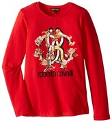 Roberto Cavalli Long Sleeve T-Shirt w/ Logo Floral Graphic Girl's T Shirt