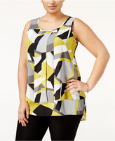 Alfani Plus Size Pleated High-Low Shell, Only at Macy's